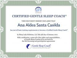 CERTIFICADO Sleep Coach a Ana Aldea Santa Casilda